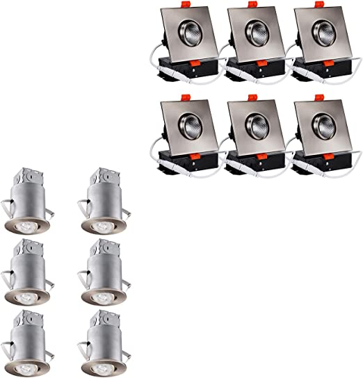 Torchstar Recessed Light Kit Bundle Gimbal Led Recessed Light 6 Pack 3 Inch Airtight Housing