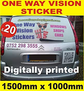 Custom Printed One Way Vision Vinyl Film, perforated vinyl, signs,car  window taxi, shop window