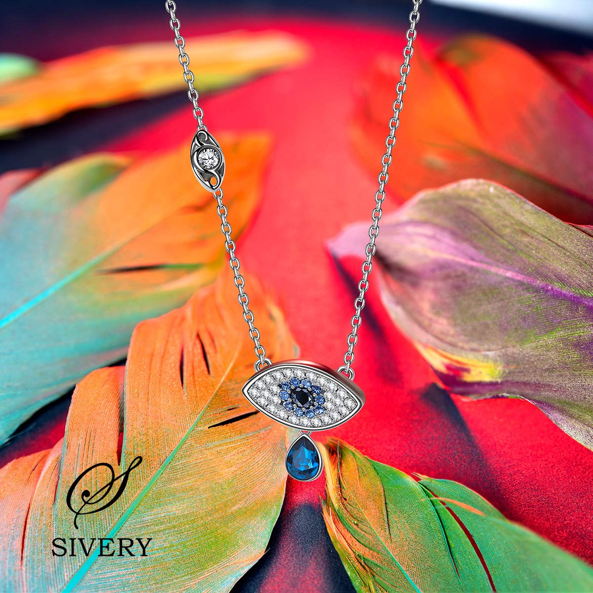 SIVERY Jewelry for Women Evil Eye Bracelet Bangles Made with Swarovski Crystals, Pendant Necklaces for Women, Gifts for Mom, Bracelets for Her