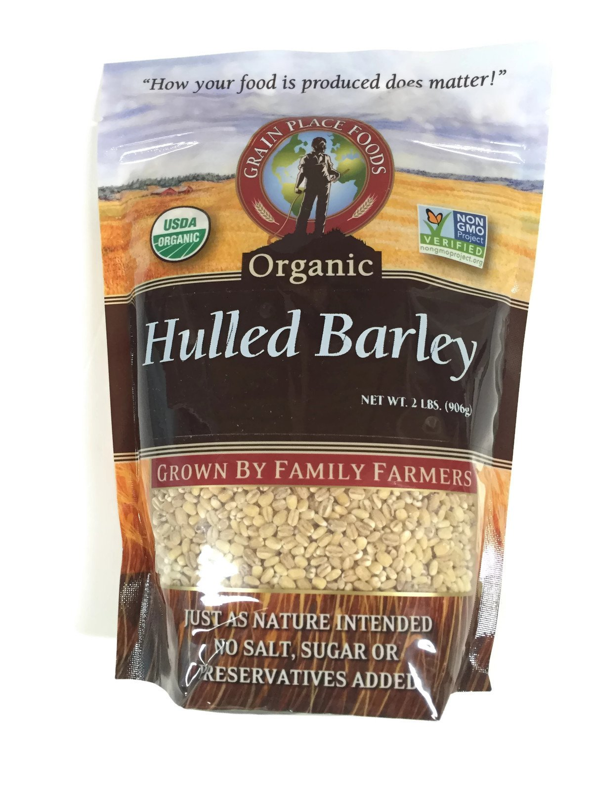 Grain Place Foods Non-GMO Organic Hulled Barley 2lb Bag by Grain Place Foods