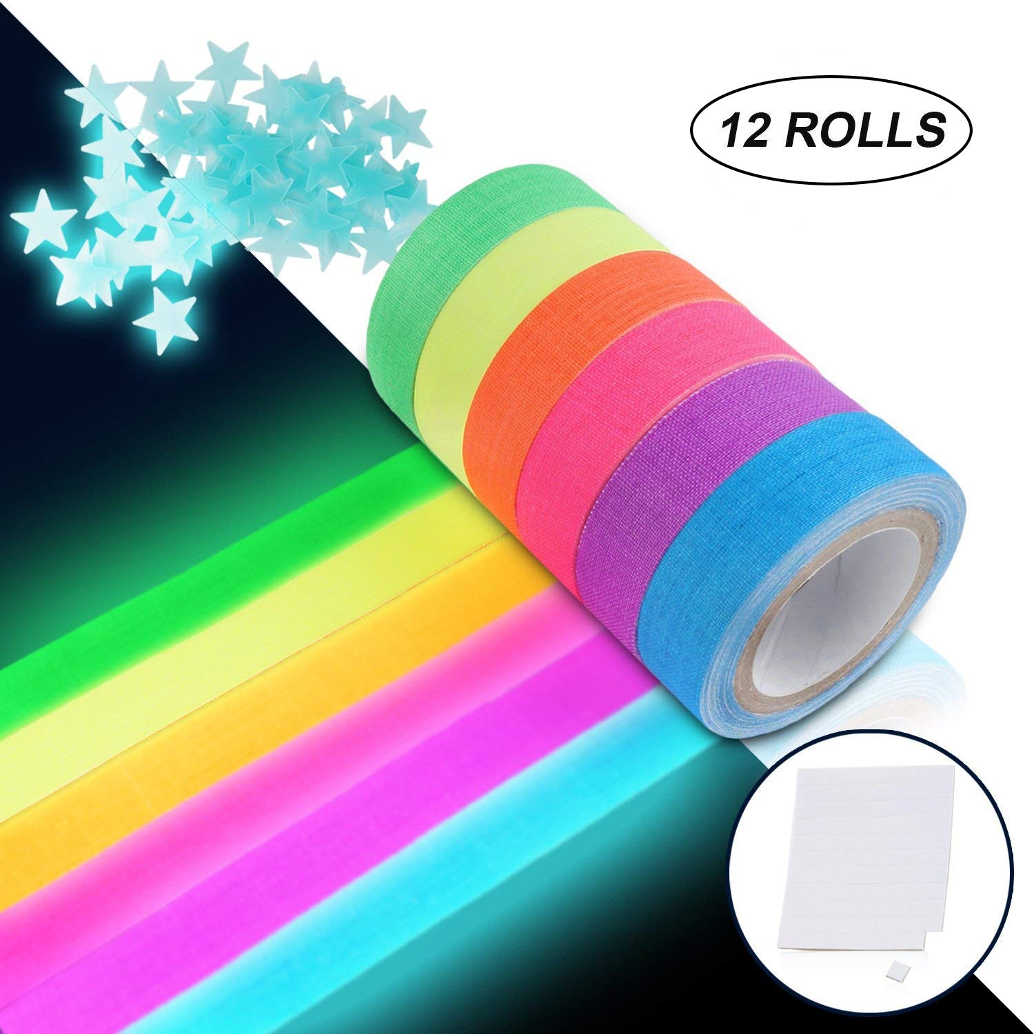 UV Blacklight Reactive Tape Neon Gaffer Fluorescent Cloth Tape for Party Decoration (12 Rolls) Jeicy