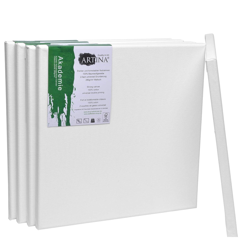 Artina Set da 5 tele per pittura 20x20cm Akademie - 100% cotone bianco 280g/m² - telaio in legno certificato FSC® - per dipingere