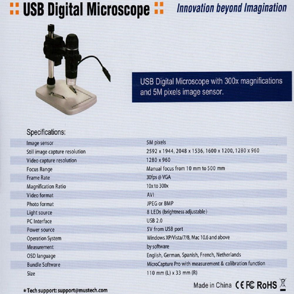 Buy Aomekie AO1017 300X Handheld USB Digital Microscope Measuring ...