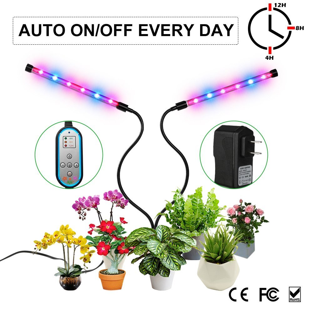 Grow Light, Auto ON & Off Every Day with Two-Way Timer 24W Dual ...