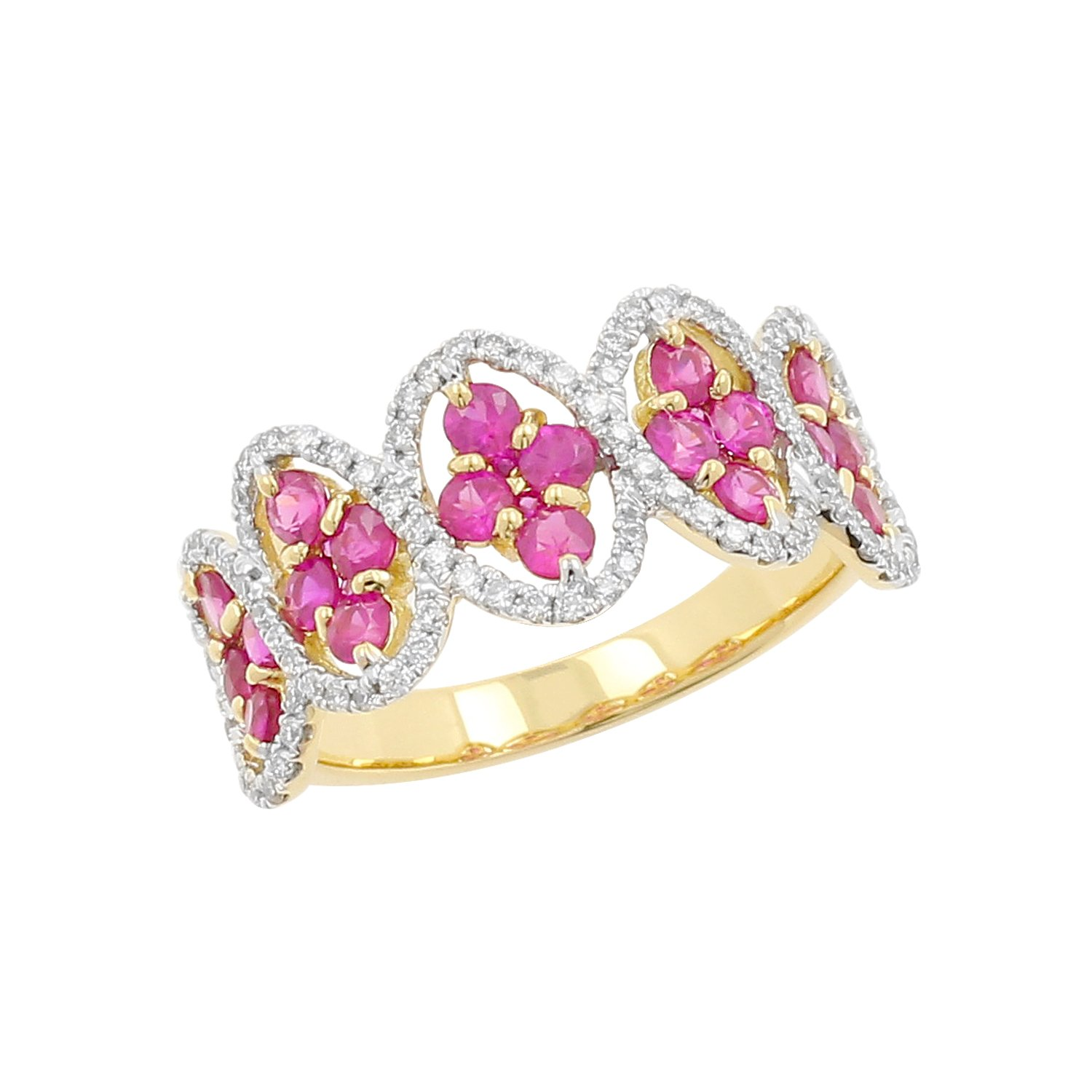 18kt Yellow Gold Ruby and Diamond Fashion Ring, Size-6.5
