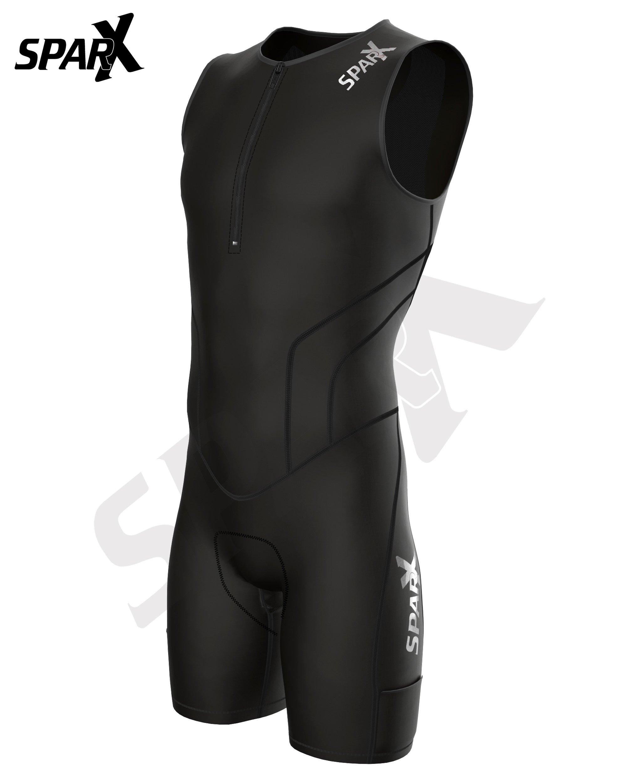 Sparx X Triathlon Suit Racing Tri Cycling Skin Suit Bike Swim Run (Black, Large) by Sparx Sports (Image #2)