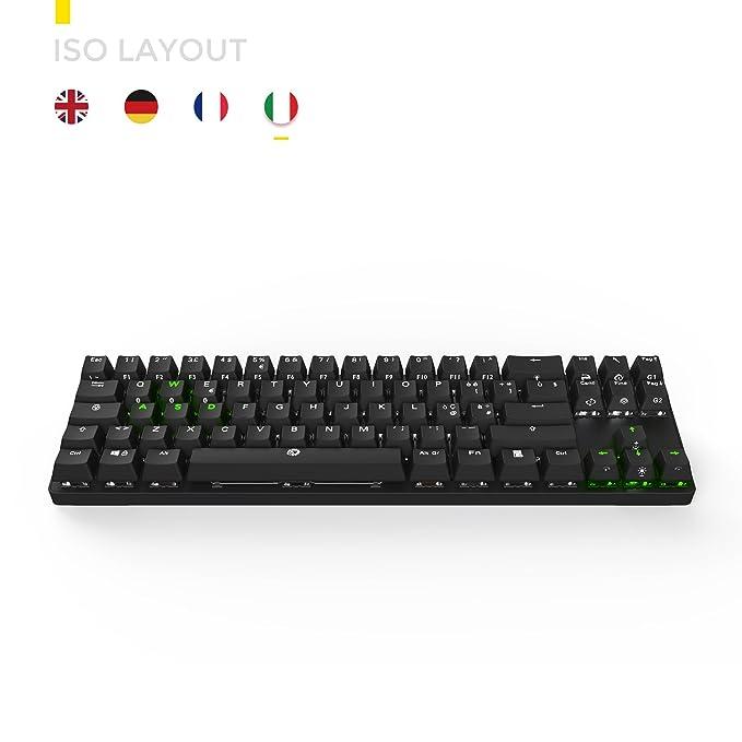 DREVO Calibur 72 clave de juego mecánico teclado RGB LED retroiluminada Tenkeyless inalámbrico Bluetooth 4.0 -IT Layout (Switch Marrón, Negro): Amazon.es: ...