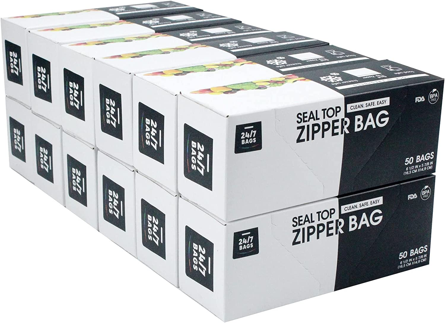 24/7 Bags - Double Zipper Storage Bags, Pint Size, 600 Count (12 Packs of 50)