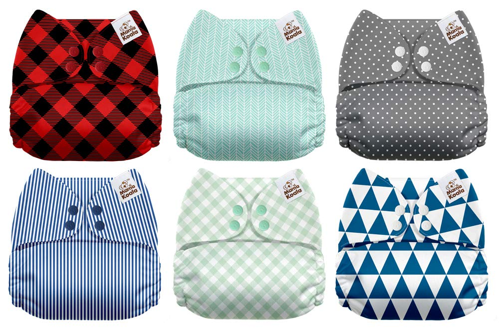 6 Pack with 6 One Size Microfiber Inserts Pets Harbor Mama Koala One Size Baby Washable Reusable Pocket Cloth Diapers