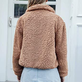 dfbd99bcbe30 TianWlio Damen Mäntel Frauen Winter warme Tasche Flauschige Mantel Fleece  Pelz Jacke Oberbekleidung Hoodies Wrap  Amazon.de  Bekleidung