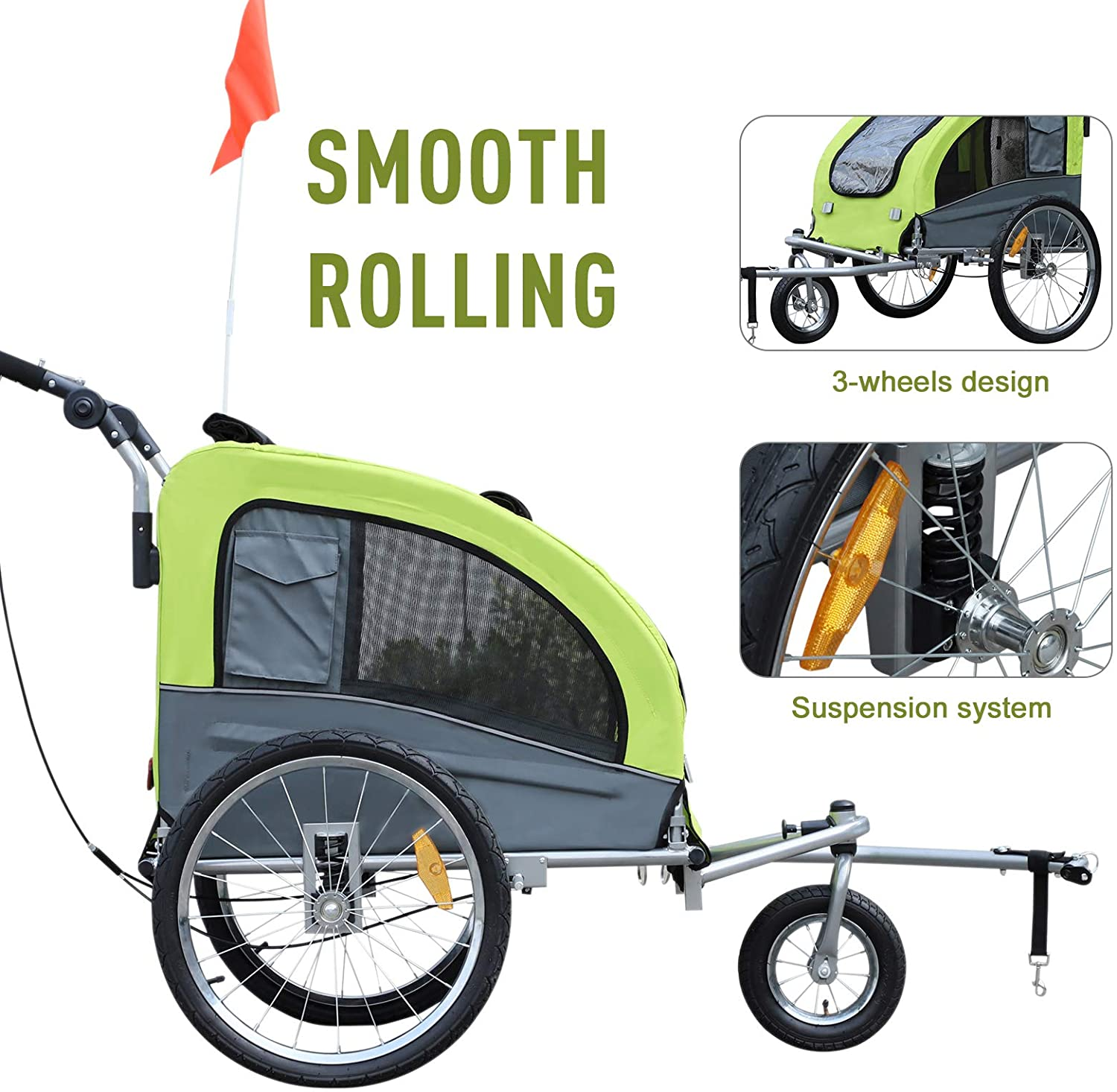 Aosom PawHut Steel Pet Bicycle Trailer 360/° Rotatable Carrier 3 Wheels Push//Pull//Brake Water Resistant Green