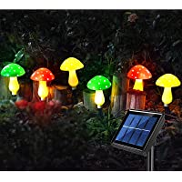 Luz solar de jardim externa,6 cogumelo lâmpadas LED para decoração de jardim,lâmpadas solares de caminho de decoração à…