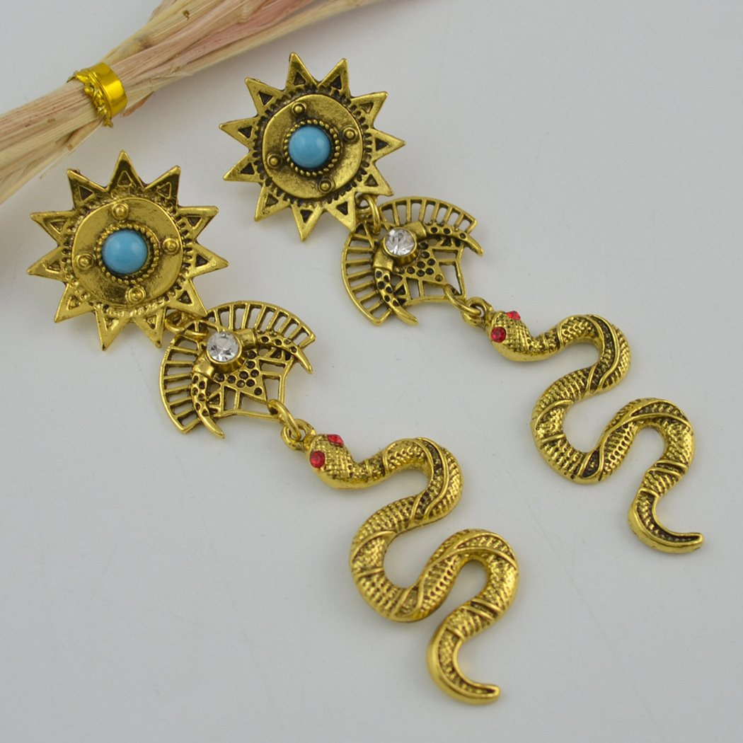Vintage Egyptian Totem Earrings Sun Moon Diamond Snake Drop Stud Earrings