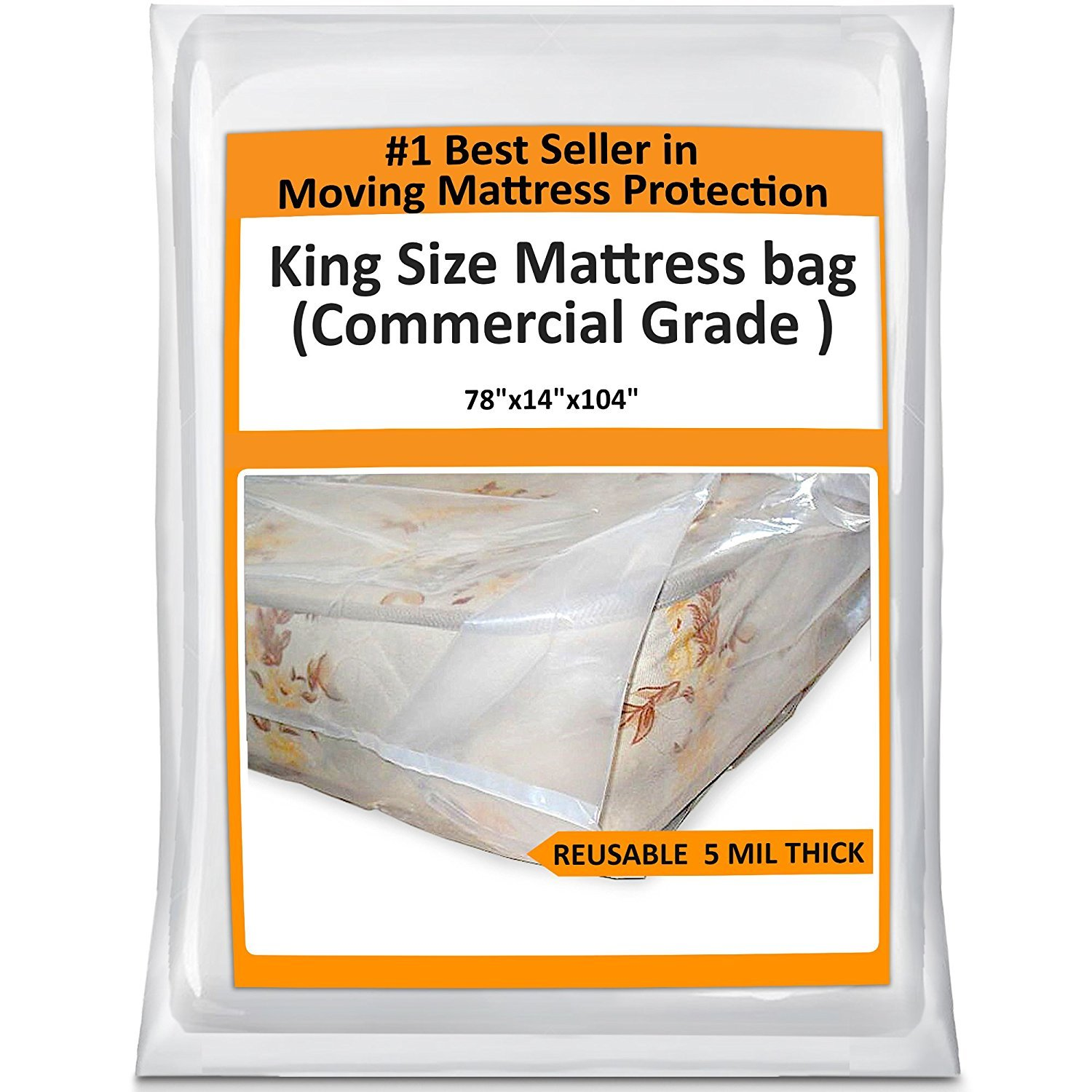 King Mattress Bag Cover for Moving Storage - Plastic Protector 5 Mil Thick Supply -Fits California King and Queen as Well