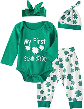 c277bc5fa Amazon.com: 4Pcs Outfit Set Clover Baby Boy Girls My First St. Patrick's  Day Pant Clothing Set (Green, 3-6 Months): Clothing