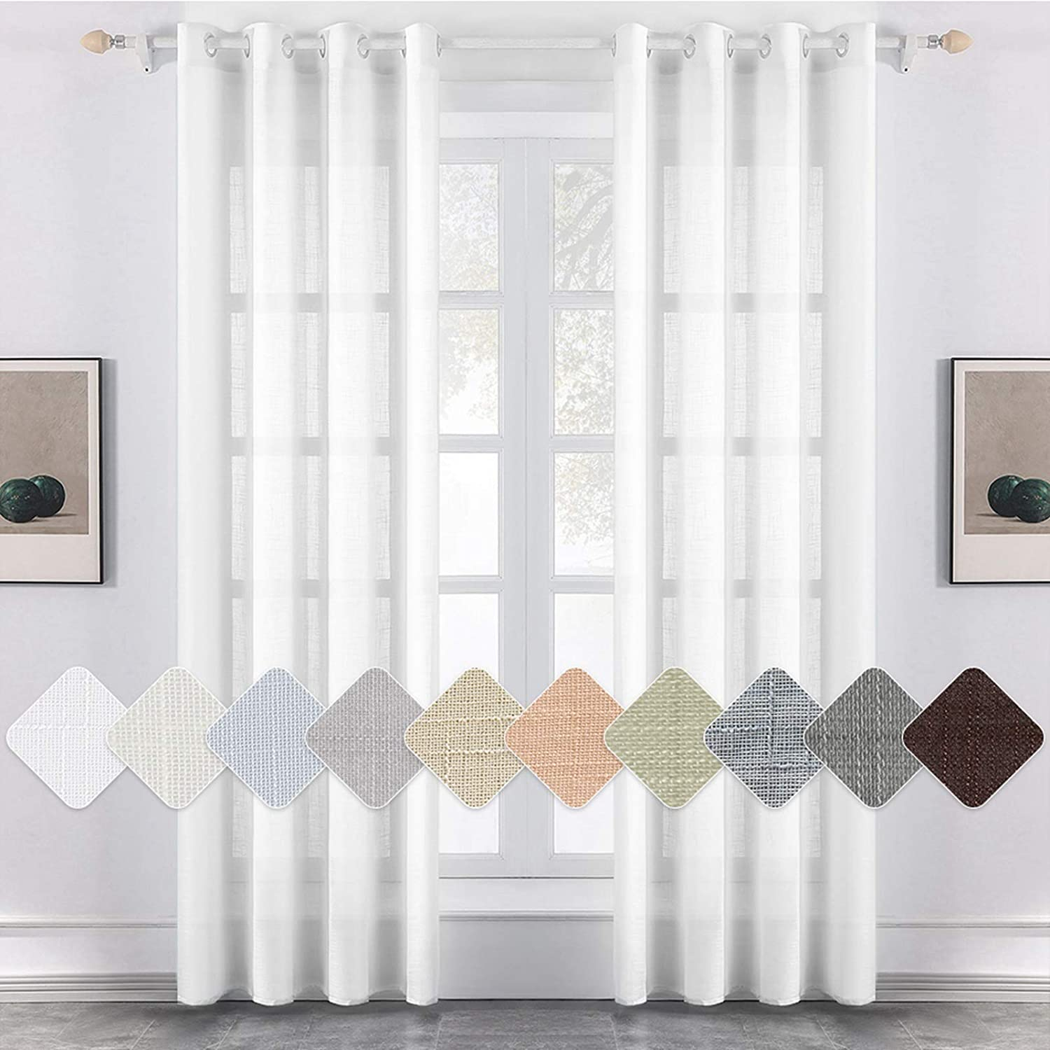 """MIULEE 2 Panels Voile Curtains Sheer Cross Linen-like Solid Color Contemporary Decorative Ring Top Eyelet Panels for Bedroom Livingroom Nursery Room White 55"""" Wx96 L 55""""Wx96""""L White"""