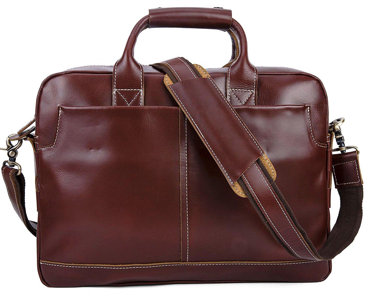 Men's Leather Laptop Briefcase Vintage Satchel Shoulder Tote Bag Attache Cases Portfolio Bag (Burgundy)