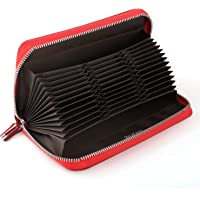 Luxspire RFID Huge Credit Card Wallet 36 Slots Credit Card Holder Premium Genuine Leather Large Storage Capacity Long Purse Case with Zipper for Men Women - Red