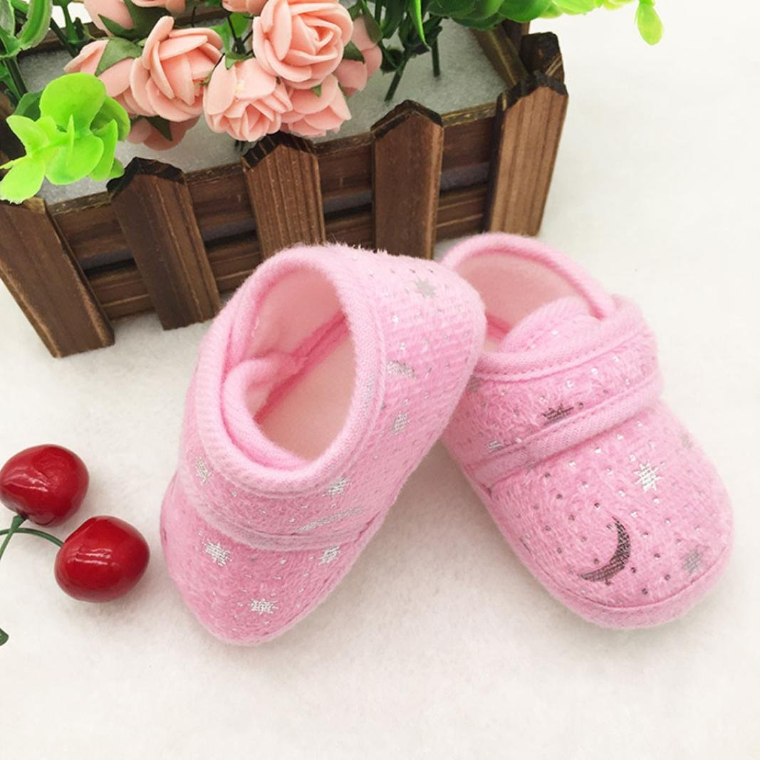 Voberry Newborn Baby Girls Coral Starry Sky Printed Walking Soft Sole Crib Shoes