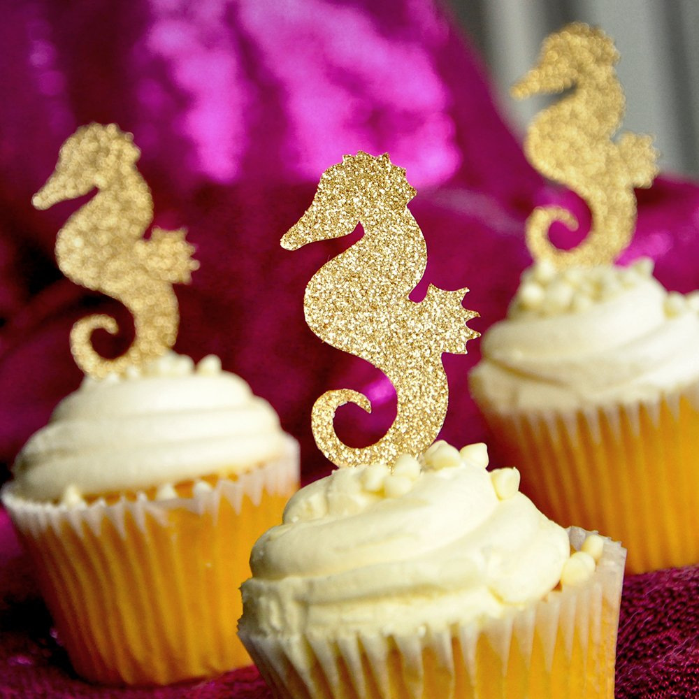 B015YGQIAA Seahorse Cupcake Toppers. Under the Sea Cupcake Toppers. 12 CT. 71a3SxGtUbL