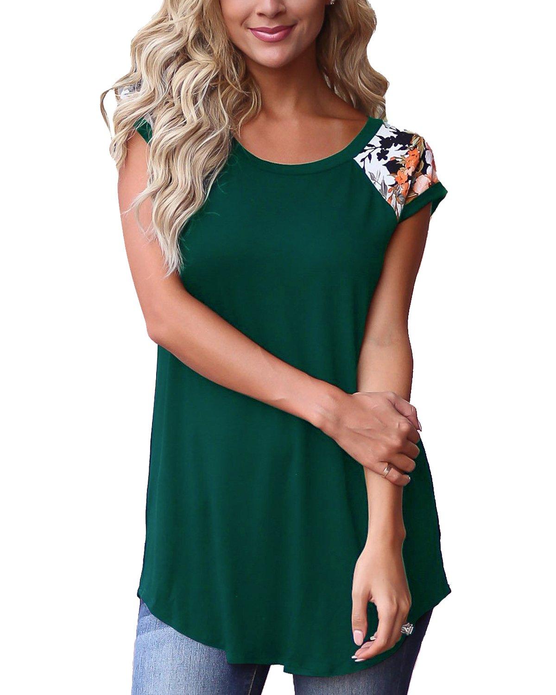 GADEWAKE Womens Casual Floral Print Color Block Short Sleeve T Shirts Blouses Tops