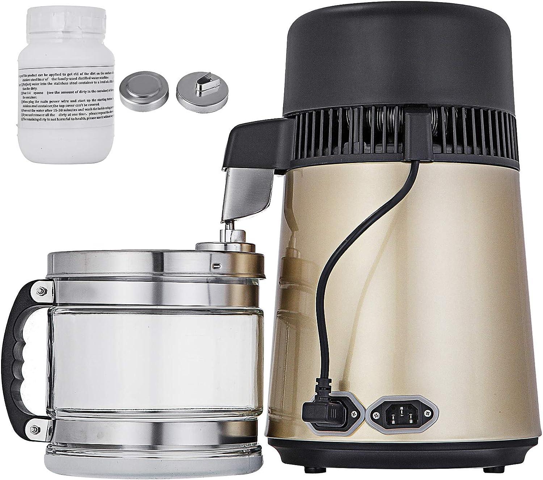 VEVOR destilador de agua de acero inoxidable 750 W Kit de destilación de agua 1.1 galones 4 l destilador de agua ...