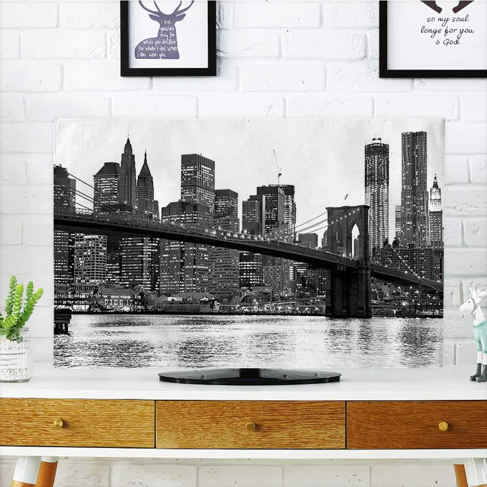 """Leighhome Protect Your TV Brooklyn Bridge with Manhattan Famous Town Black and White Protect Your TV W30 x H50 INCH/TV 52"""""""