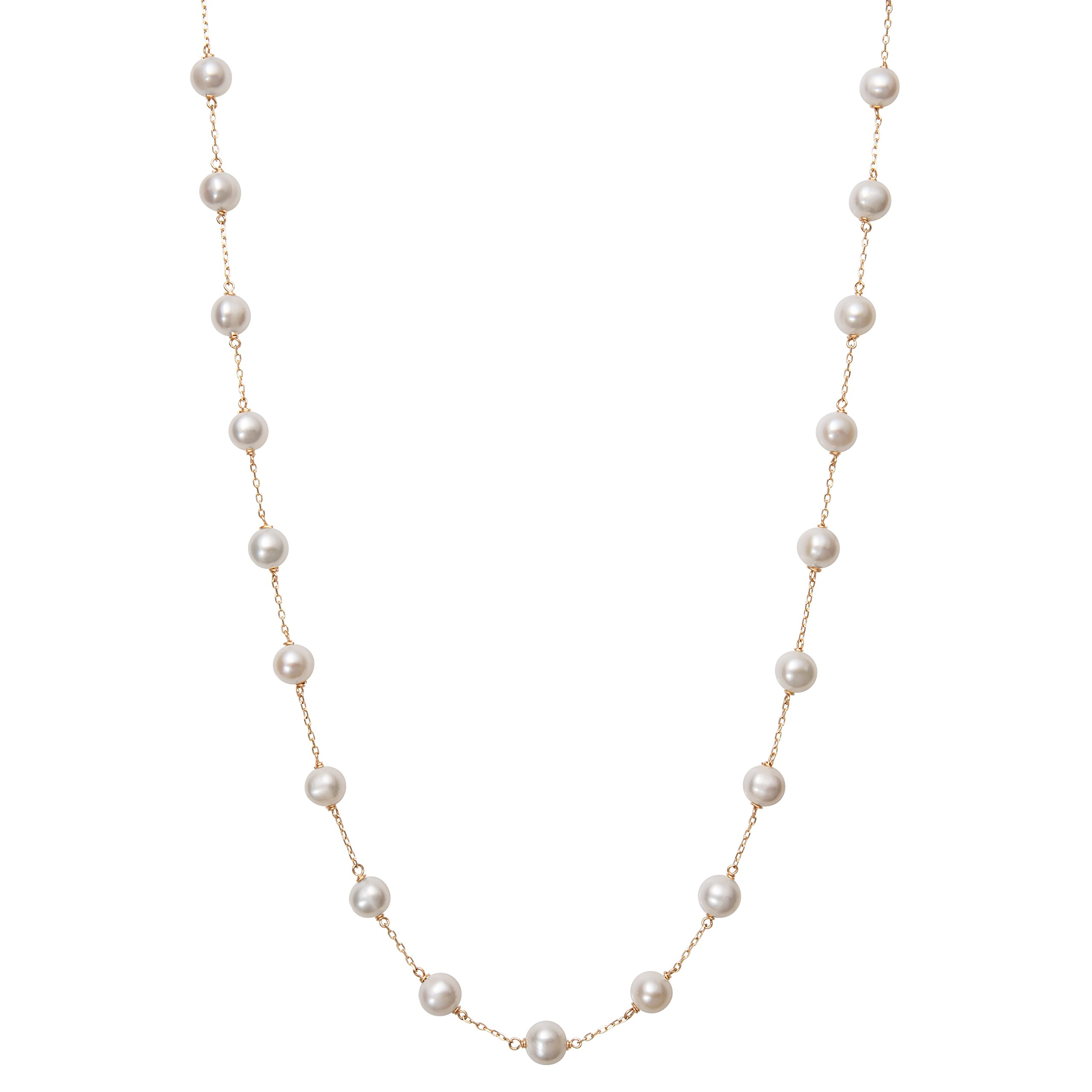 10K Yellow Gold Cultured Freshwater Pearl Layered Station Chain Necklace by Belacqua