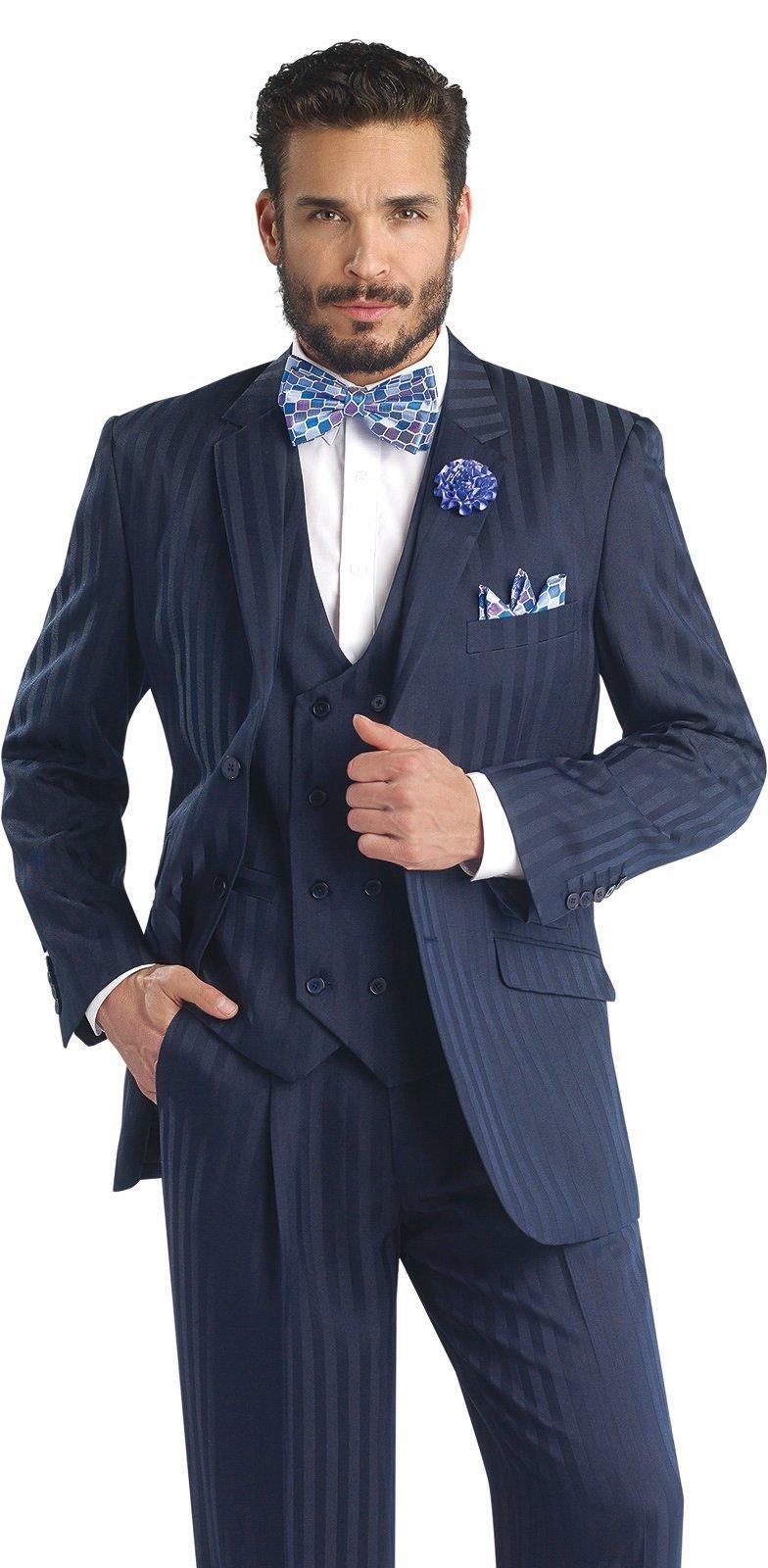 EJ Samuel Navy 3 Piece Mens Suits M2687 Suit For Men (46 R) Apparel by E. J. Samuel