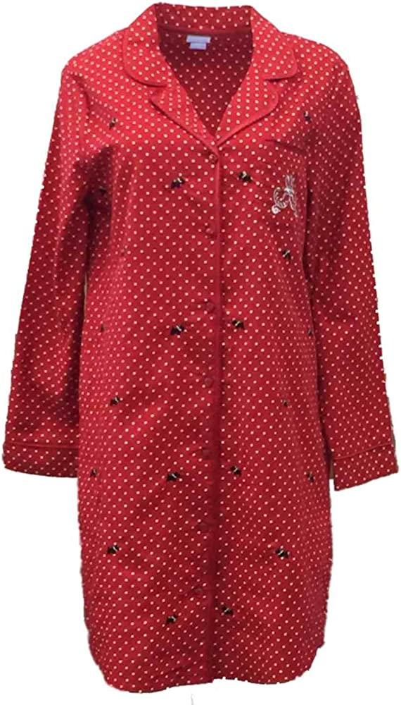 Rene Rofe Women/'s Warm Fleece Red Scotty Dogs Pajamas Coat-Style