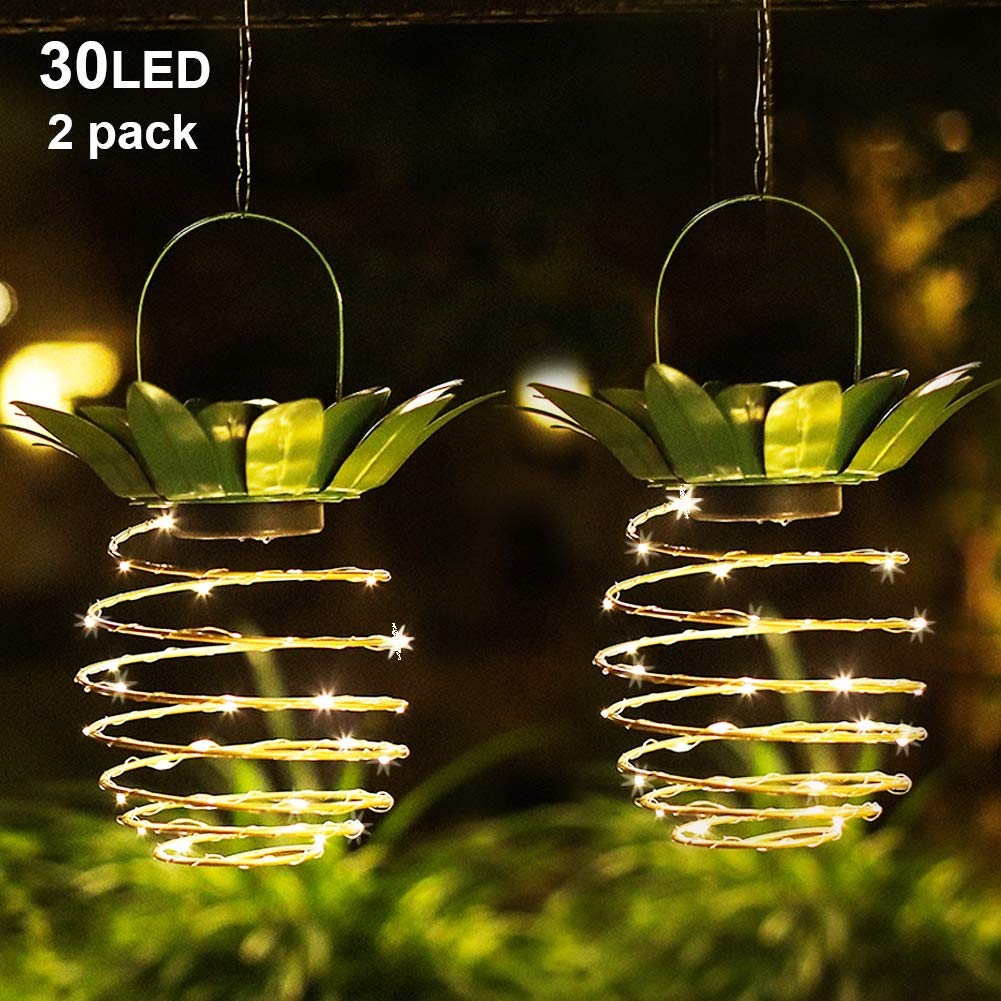 Juegoal 30 LED Pineapple Solar Lights Solar Powered Garden Lights Outdoor Decor Hanging Lantern for Garden Patio Path Home Party, Warm White, 2 Pack