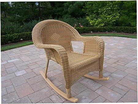 Wood & Style - Juego de 2 balancines de Mimbre para jardín (2 Unidades, Resina), Color Miel: Amazon.es: Hogar