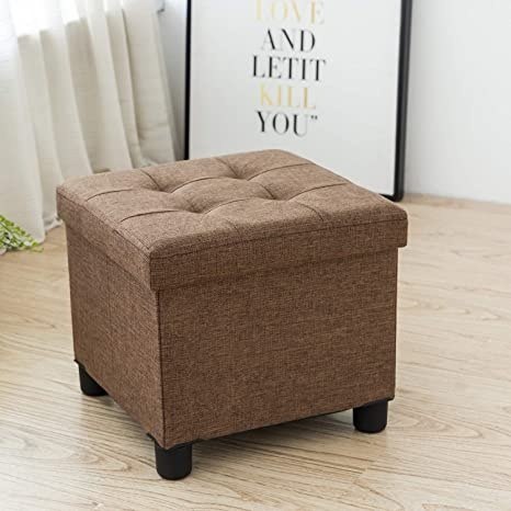 Cassilia Foldable Storage Ottoman Square Cube Coffee Table Multipurpose  Footrest Stool for Bedroom and Living Room Storage (Coffee)