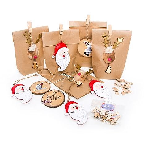 Regali Di Natale Di Carta.Set 10 Pezzi Piccoli Sacchetti Di Carta Marrone Con Ciondolo