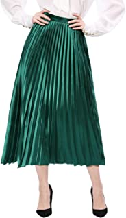 Allegra K Women's Zip Closure Accordion Pleated Metallic Midi Party Skirt