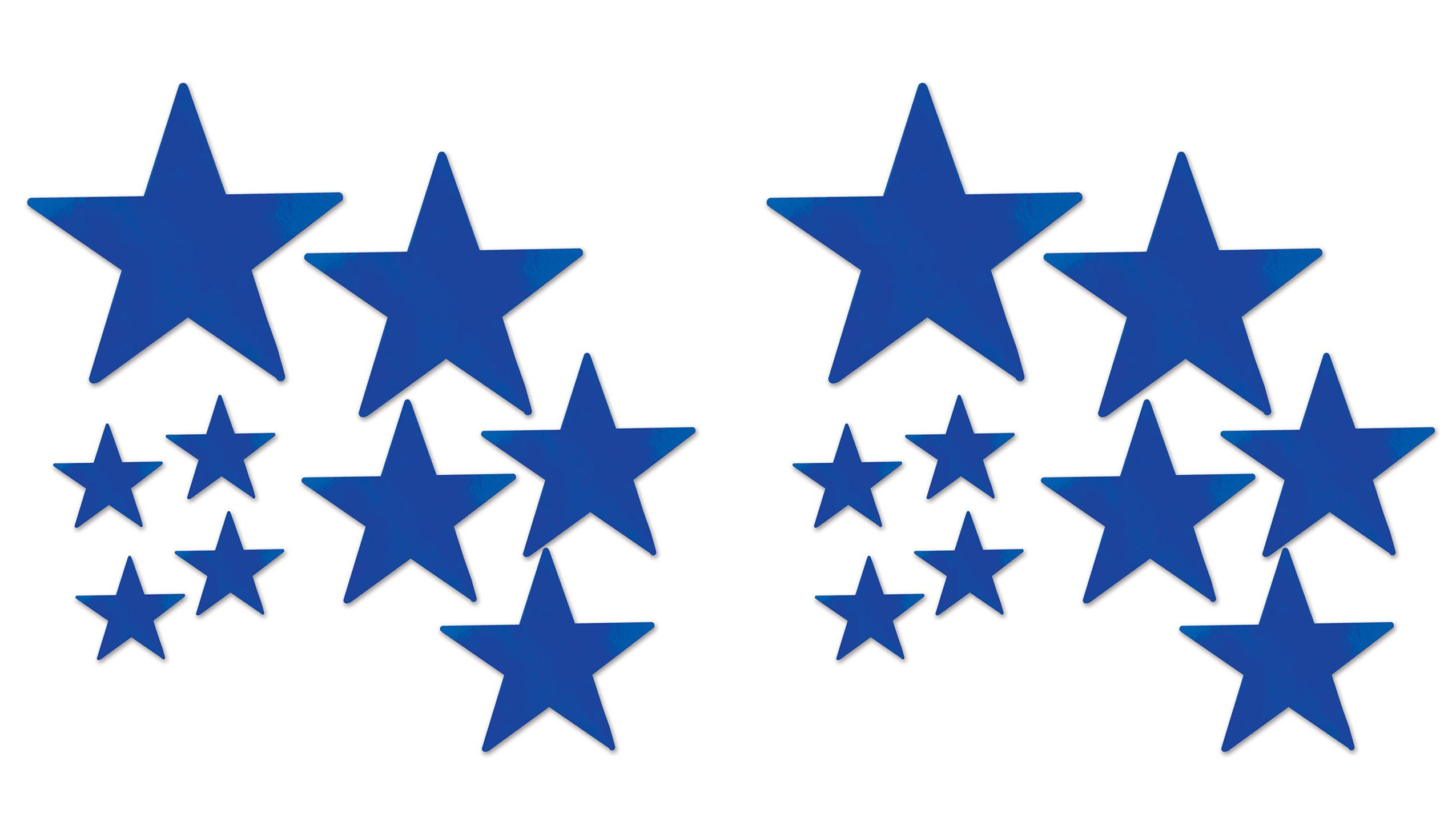 Beistle 53306-B Beistle 53306-B, 18 Piece Packaged Foil Star Cutouts, Assorted Sizes (Blue), Assorted Sizes, Blue