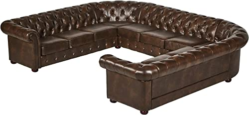 Inspire Q Knightsbridge Tufted Scroll Arm Csterfield 11-seat U-Shaped Sectional