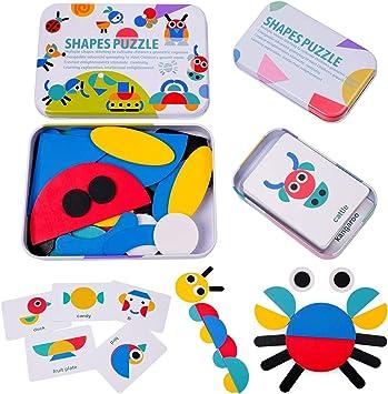 HellDoler Puzzle in Legno per Bambini Giocattoli Animali,6 Pezzi Giochi Bambino Montessori Educativi Gioco Blocchi di Modello Regalo per 1 2 3 Anni Bambini Ragazza Ragazzo