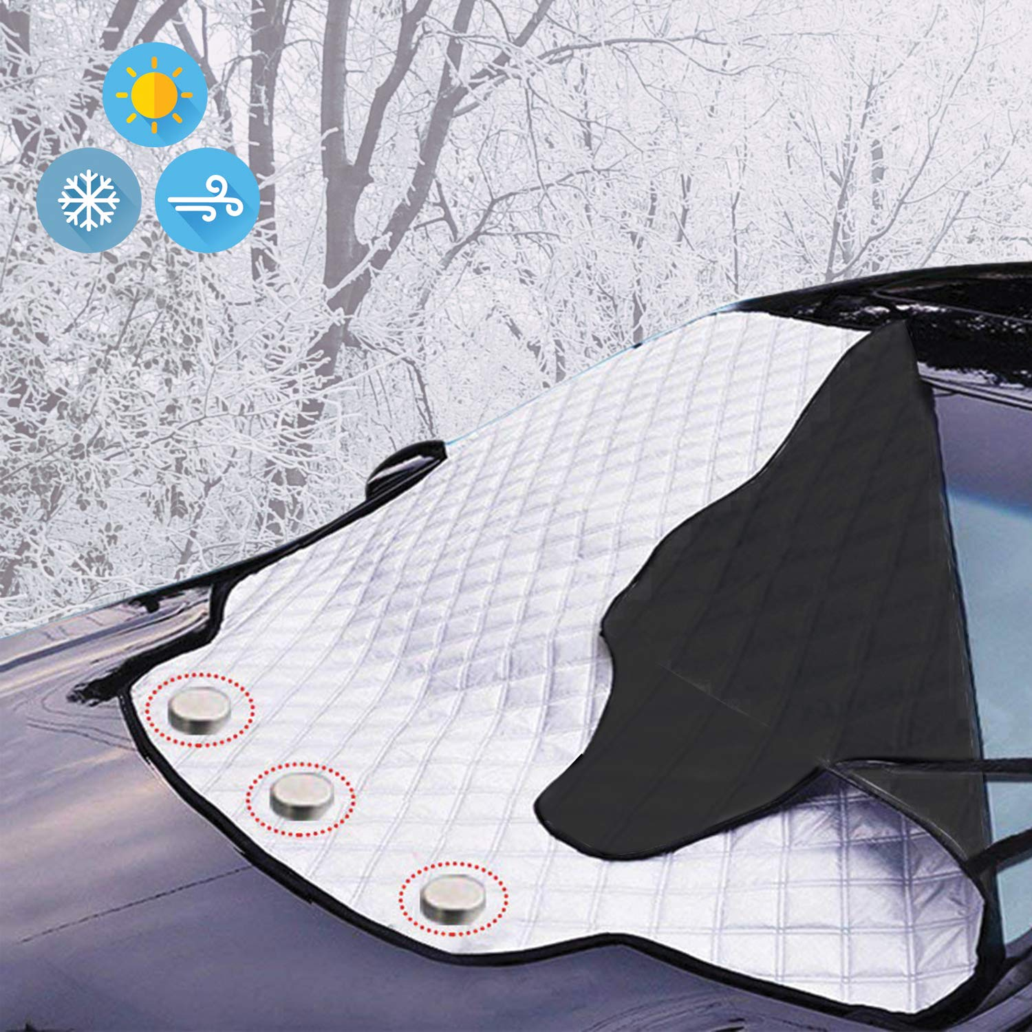 Prodect From Snow Ice Frost Sun UV Dust Water Resistent KEPLIN Car Windshield Cover Pefect Fit for Cars SUVs All Year Round Heavy Duty Ultra Thick Protective Windscreen Cover
