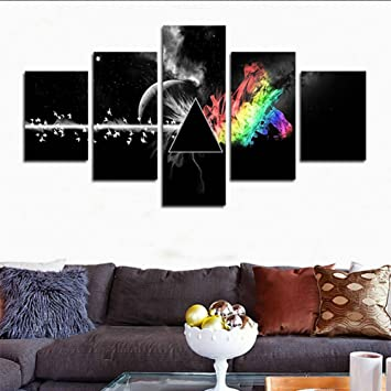 H Cozy5 Piece Printed Pink Floyd Rock Music Canvas Painting For Living Room Home Decor