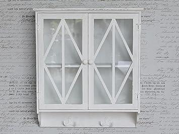 chic antique - vetrinetta bianco ° armadietto pensile ° shabby ° h ... - Vetrinette Pensili Per Cucina
