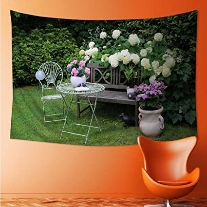 Elastic Fabric Tapestry,A Quiet Garden Tapestry Wall Hanging Art(36W X 24L  INCH