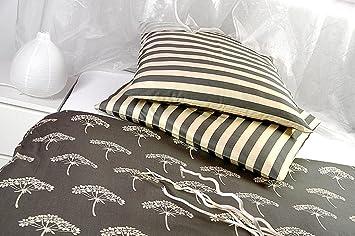 Mako Satin Bettwäsche Creme Beige Olive Blumen 240x220 Cm übergröße