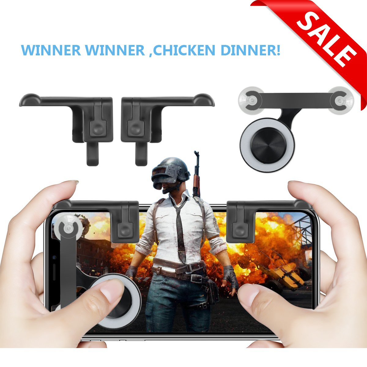 Mobile Joystick, Rocker and L1R1 Fire Botton Aim Key Shooter Controller, Sensitive Touch Screen Gamepad for Rules of Survival, Fortnite, Survivor Royale, Critical Ops
