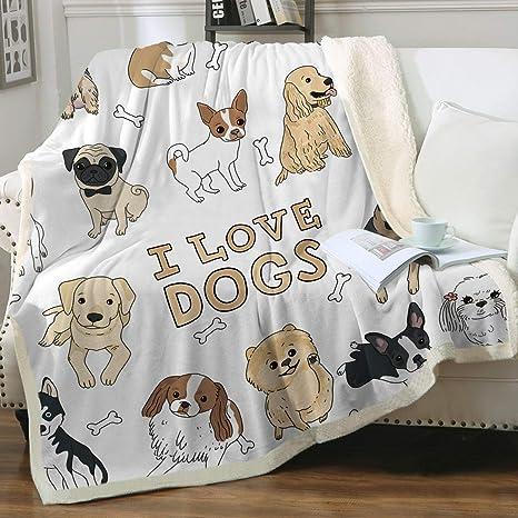 Dog Blanket Brown Bone Reverisable Fleece Blanket