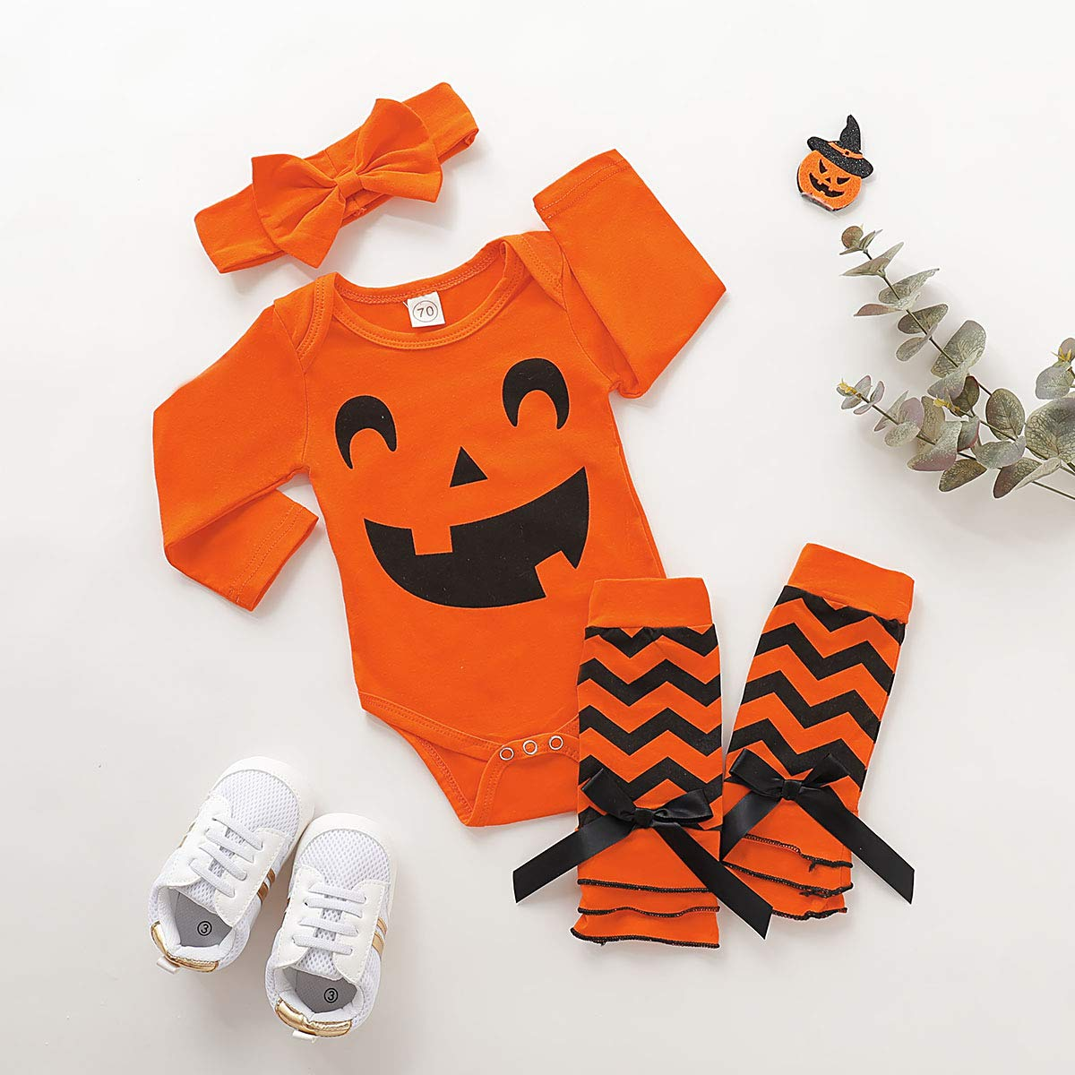 Dacestar 3PC Newborn Baby Girls Clothes My First Halloween Print Pumpkin Romper Outfits Set with Headband and Leg Warmer Sets