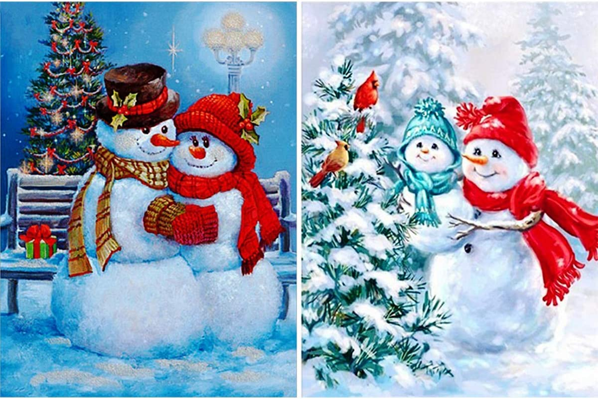 2 Pack 5D Diamond Painting Christmas Snowman Family by Number Kits, Christmas Eve Christmas Couple Full Drill Paint with Diamonds Mother and Son Home Decor 12x16 inch (30x40 cm)