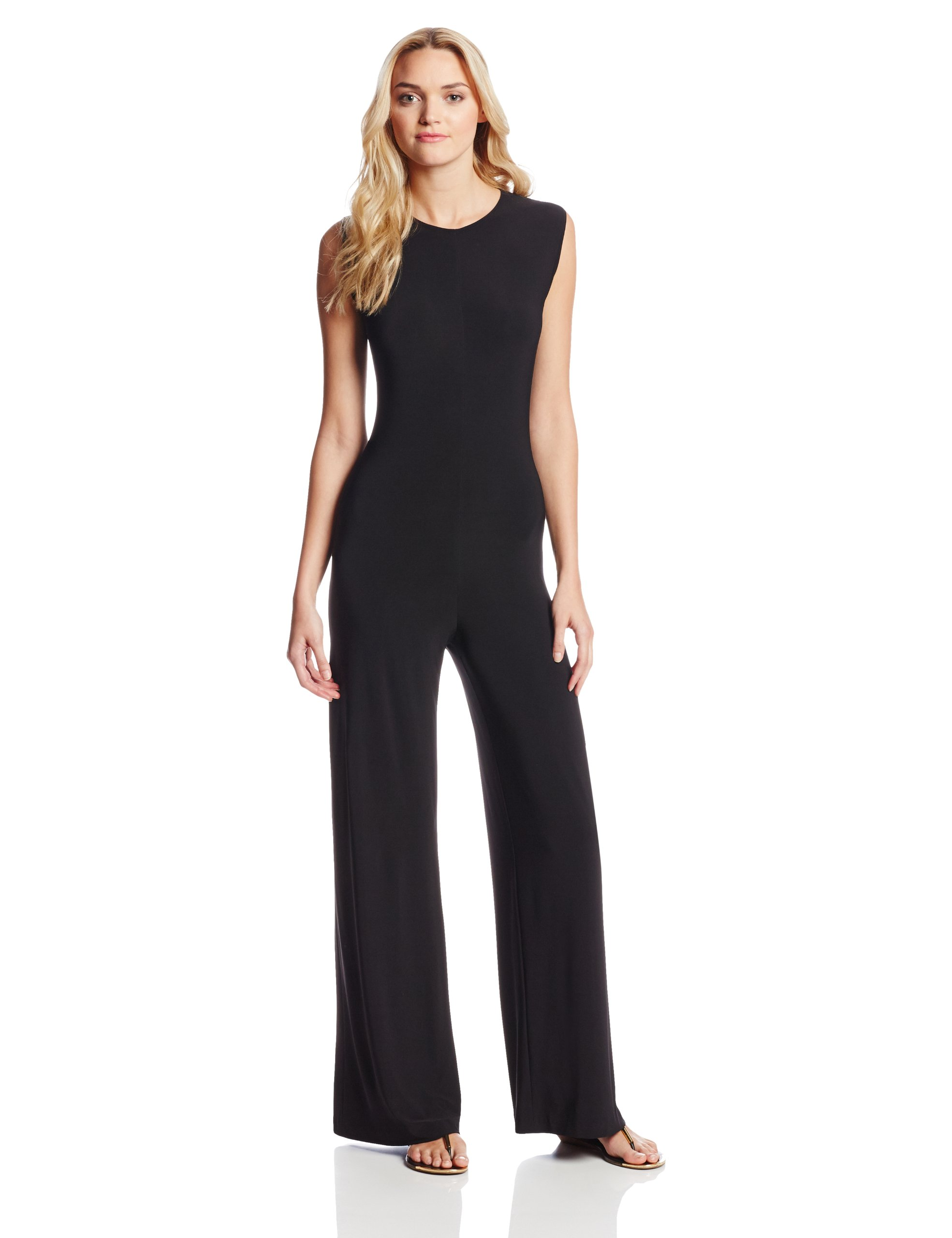 KAMALIKULTURE Norma Kamali Women's Sleeveless Jumpsuit, Black, Medium