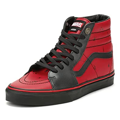 60f4144ffbd Amazon.com  Vans SK8-Hi Marvel Deadpool Red Black Leather Skateboarding  Shoes  Shoes
