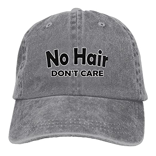Mens Womens No Hair Don t Care Flex Denim Cap Mesh Hat Cotton Ash at ... 5af29071fd
